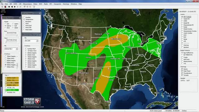 National forecast for May 7, 2014. Severe weather in Texas and in the
