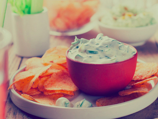 4 dips for each quarter of your Super Bowl party
