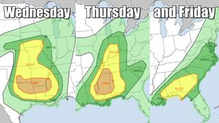 Get ready for three days of severe thunderstorms