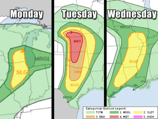 Severe storms may bring tornado outbreak Tuesday