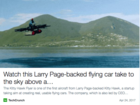 Google cofounder's 'flying car' makes its debut